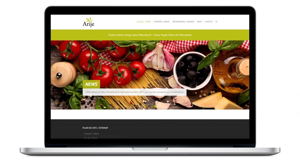 Page d'accueil site web Domaine Arije