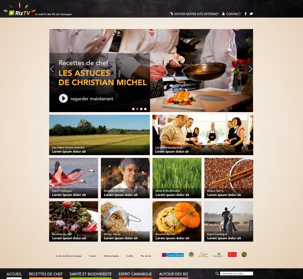 Maquette de la page d'accueil de Riz TV